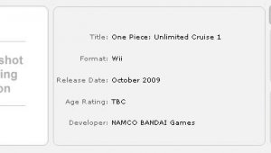 [Rumor] One Piece: Unlimited Cruise - Episode 1 para octubre