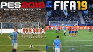 FIFA 19 vs PES 2019 gameplay comparativo